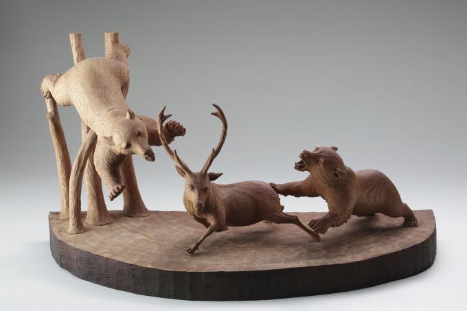 《鹿を襲う熊》1977年、個人蔵、撮影:露口啓二