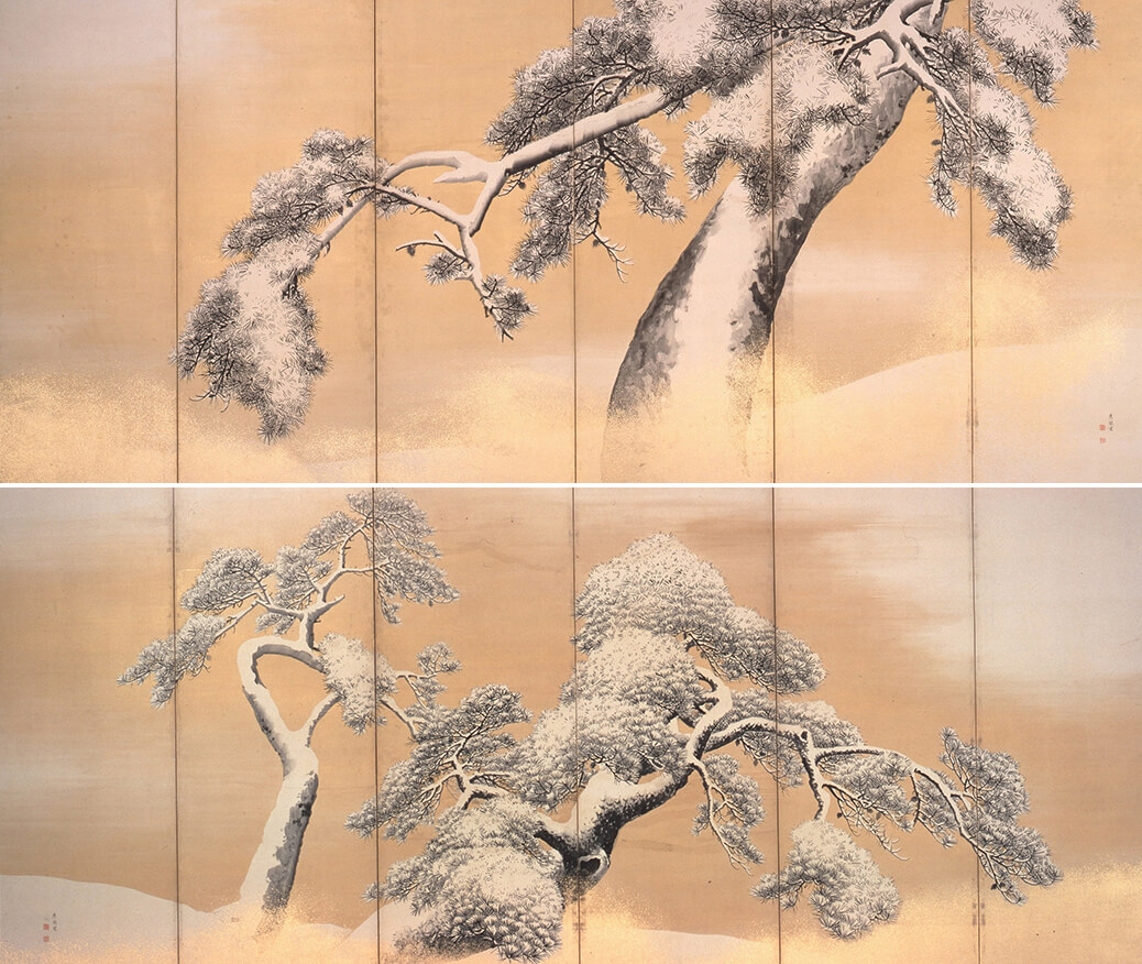 円山応挙筆 国宝 《雪松図屏風》(上:右隻)(下:左隻) 江戸時代・18世紀 三井記念美術館蔵