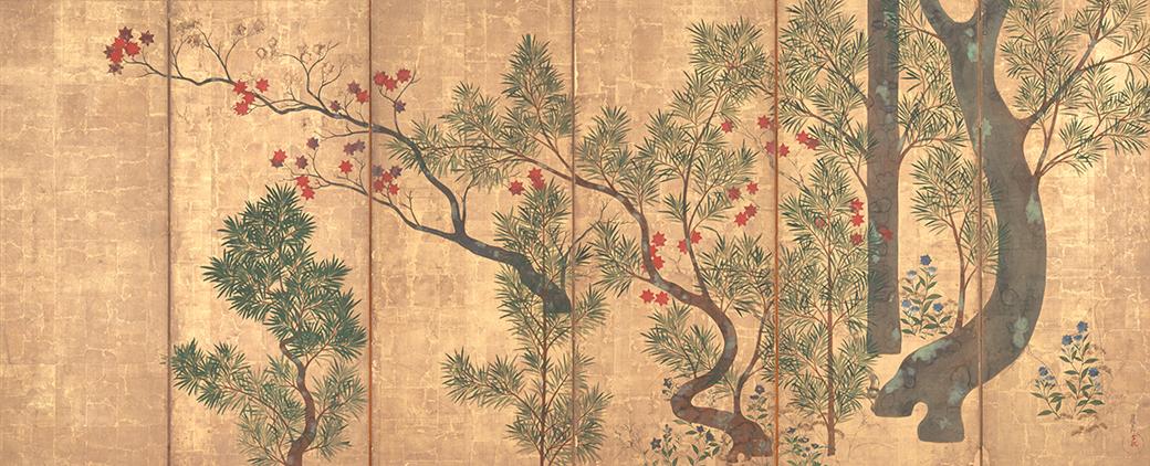 尾形光琳《槇楓図屏風》 18世紀 重要文化財 東京藝術大学蔵