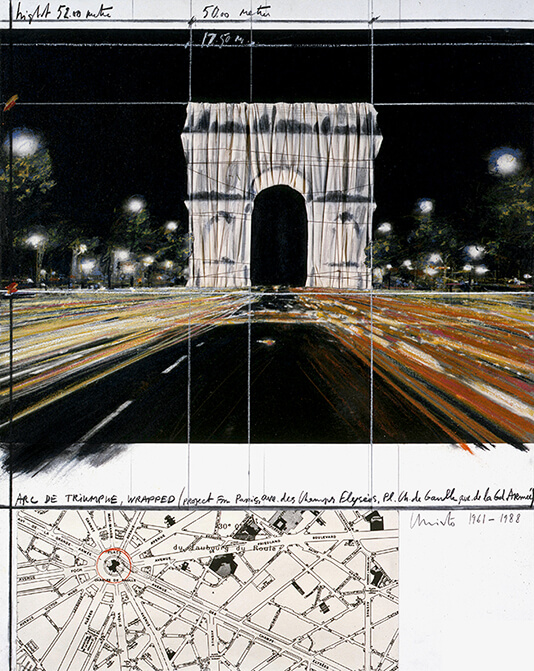 Christo Arc de Triumphe, Wrapped (Project for Paris) Collage 1988 Pencil, fabric, twine, pastel, charcoal, wax crayon, map, and Photostat 71 x 56 cm (28 x 22 in)Private collection Photo: André Grossmann © 1988 Christo and Jeanne-Claude Foundation