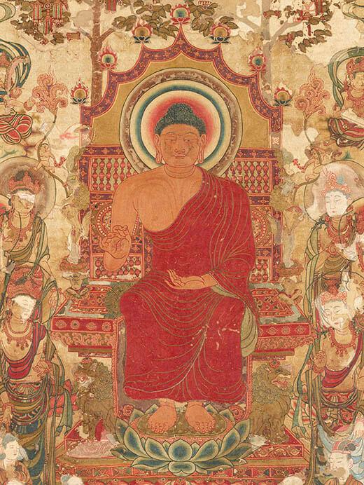 国宝 刺繡釈迦如来説法図(部分) 奈良時代または唐時代(8世紀) 前期