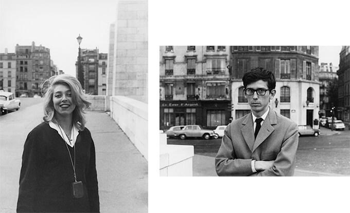 (左)トゥールネル橋の上で。ジャンヌ゠クロード Photo: Christo (右)トゥールネル通りで。クリスト Photo: Jeanne-Claude1962年(パリ) © 1962 Christo and Jeanne-Claude Foundation