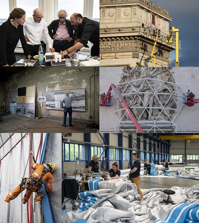 (上段左)クリストとSchlaich Bergermann Partner社で、構造エンジニアリングの計画を検討している。2019年3月26日/ドイツ © 2019 Christo and Jeanne-Claude Foundation (上段右)凱旋門上部の出っ張り部分を保護するための構造物が設置されている。2021年7月30日/パリ © 2021 Christo and Jeanne-Claude Foundation (中段左)アトリエで『凱旋門』の下絵を描いていたクリスト。2019年9月21日/ニューヨーク © 2019 Christo and Jeanne-Claude Foundation (中段右)凱旋門の4体の彫刻を保護するため、鋼鉄の檻が設置されている。2021年7月20日/パリ © 2021 Christo and Jeanne-Claude Foundation(下段左)パリのシャルパンティエ教会の本部で行われた、凱旋門を包むための最初の等身大実験 (2分の1スケール) 2019年12月16日/パリ © 2019 Christo and Jeanne-Claude Foundation (下段右)ドイツのGeo-Die Luftwerker社で、リサイクル可能なポリプロピレン繊維が縫い付けられている。2020年7月/ドイツ © 2020 Christo and Jeanne-Claude Foundation すべて Photo: Wolfgang Volz