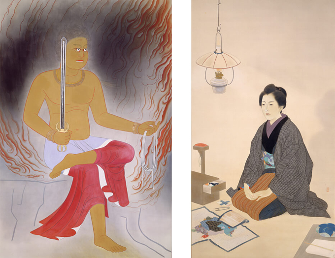 (左)小林古径 《不動》1940年 東京藝術大学蔵 (右)鏑木清方 《一葉》1940年 東京藝術大学蔵
