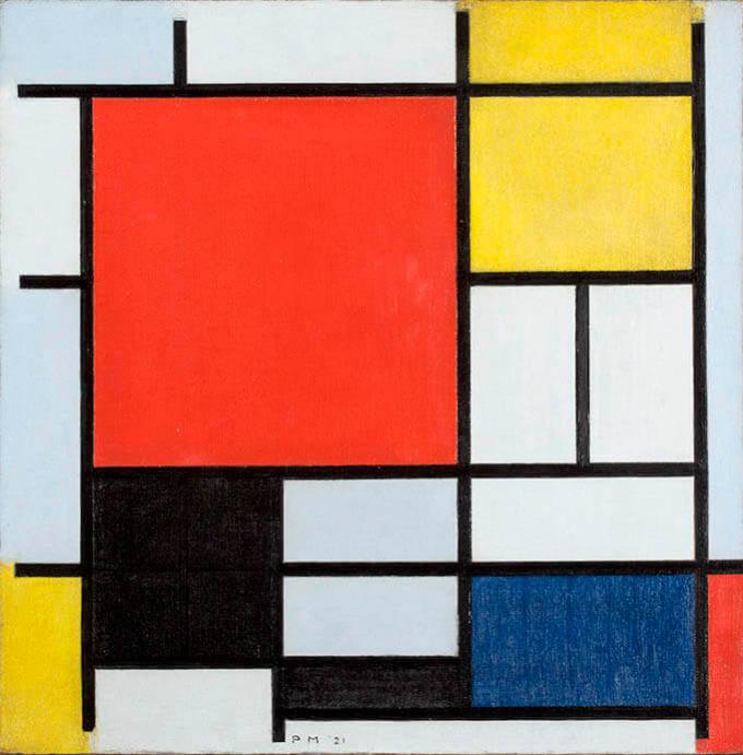 ピート・モンドリアン《大きな赤の色面、黄、黒、灰、青色のコンポジション》1921年 油彩、カンヴァス デン・ハーグ美術館Kunstmuseum Den Haag