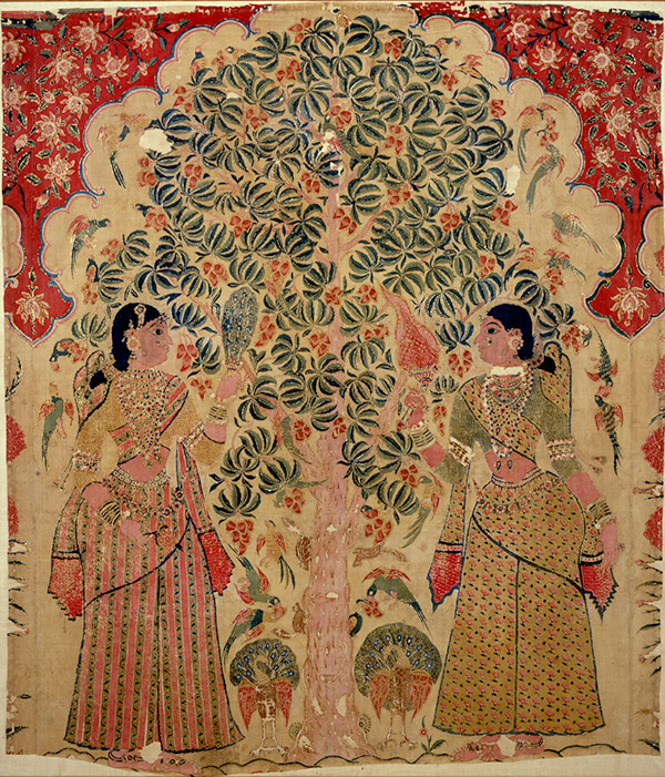 《クリシュナ物語図更紗壁掛》作者不詳 インド 17-18世紀 福岡市美術館蔵