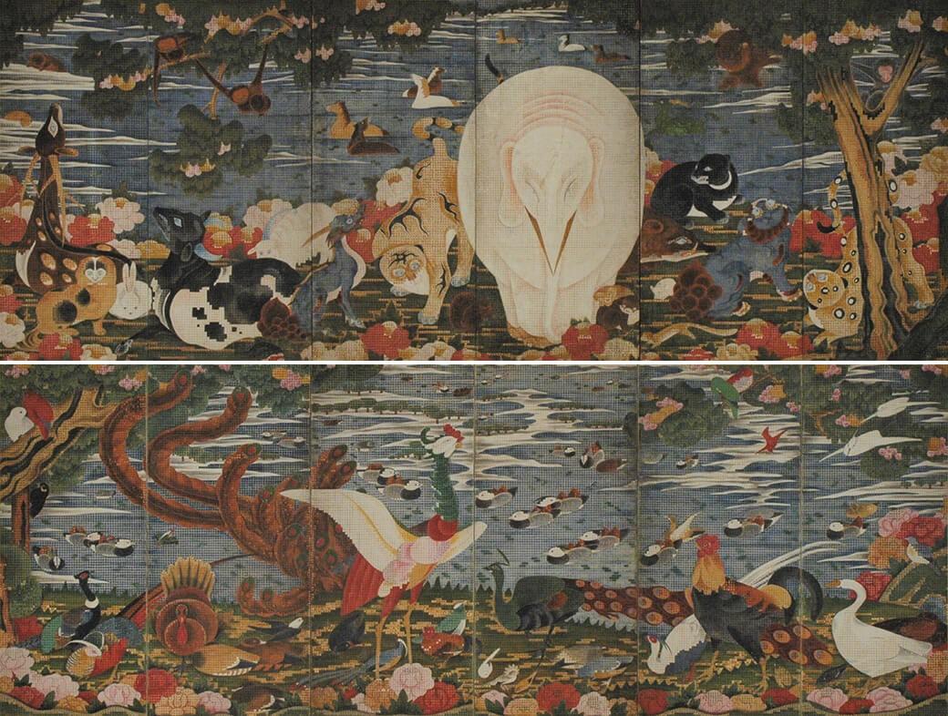 伊藤若冲 《樹花鳥獣図屏風》 18世紀後半(江戸後期)紙本着色、六曲一双屏風 (画像上)右隻 137.5×355.6cm (画像下)左隻 137.5×366.2cm