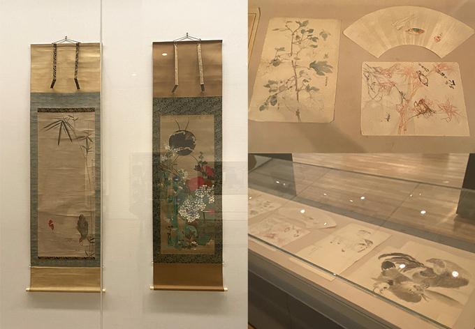 (画像左)左の1点が、円山応挙《竹鶏図》1778年、右は、《円山派 粉本資料》10世紀-20世紀 紙本墨画 彩色