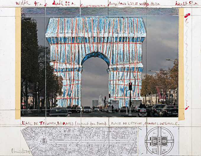 Christo L'Arc de Triumph, Wrapped (Project for Paris) Place de l'Etoile, Charles de Gaulle Collage 2019 Pencil, wax crayon, enamel paint, photograph by Wolfgang Volz, map, architectural and topographic survey, and tape 28 x 35.5 cm (11 x 14 in)Property of the Estate of Christo V. Javacheff Photo: André Grossmann © 2019 Christo and Jeanne-Claude Foundation
