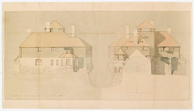 ゲセリウス・リンドグレン・サーリネン建築設計事務所《ヴィトレスク、リンドグレン邸の北立面(左)、スタジオの断面が見えるリンドグレン邸の南妻面(右)》1902年フィンランド建築博物館