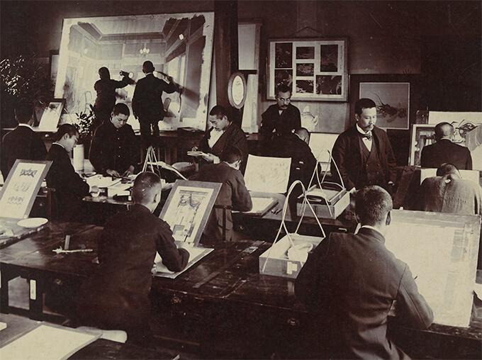 東京美術学校図案科 授業風景(明治後期)
