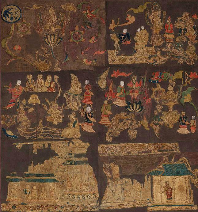国宝 天寿国繡帳飛鳥時代・622年頃、中宮寺蔵、東京展のみ前期展示